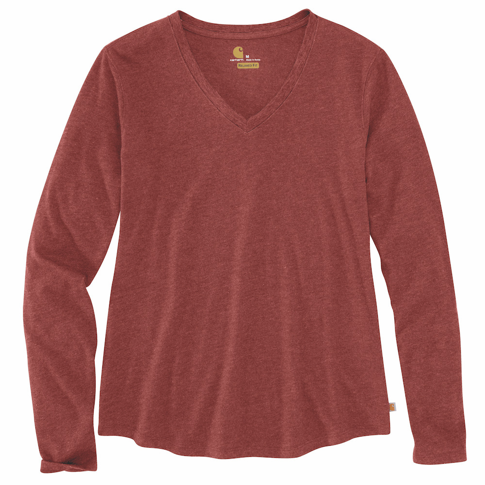 Carhartt Womens 104407 Womens Long Sleeve V-Neck T-Shirt