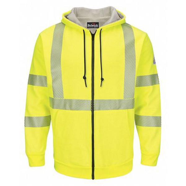7432ecc441c0 Bulwark Flame Resistant Hi-Visibility Zip-Front Hooded Fleece Sweatshirt w   Waffle Lining